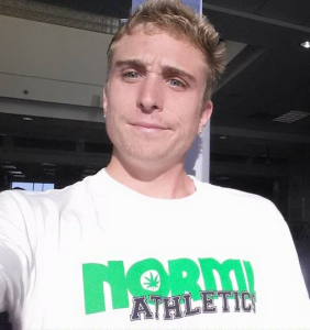 Avery Collins sporting his hemp NORML Athletics gear on the way to Chattahoochee, GA for the Cruel Jewel 100