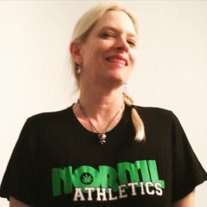 Greta sports her hemp NORML Athletics shirt